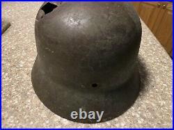 100% Original German World War 2 WW2 German Heer Army Helmet battle damaged