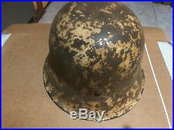 100% Original German Ww2 M42 Winter Snow Camo Helmet 30 Day Inspection