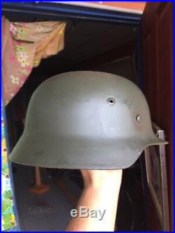 Amazing Beautiful Original WW 2 German Helmet Marked ET 66 and Numbered 4879