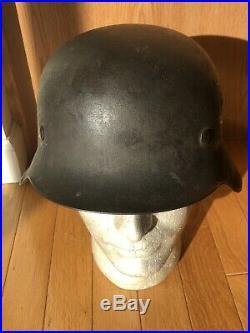 As Found Original WW2 German Helmet Model 1942 Blue Grayish Color