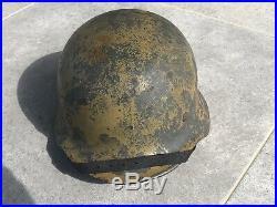 Beautiful Original Ww2 Dak Afrika Korp M40 German Camo Helmet Wwii