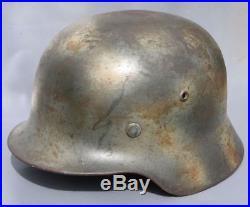 Beautiful Original Ww2 M35 DD German Camo Heer Helmet Wwii