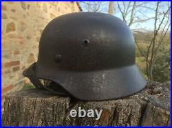 CASQUE ALLEMAND WW2 DEBARQUEMENT ITALIE ECRITE A L'INTERIEUR helm german helmet
