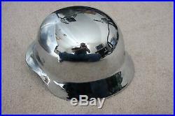 Chrome Plated German Helmet WW2, Real Vintage Authentic