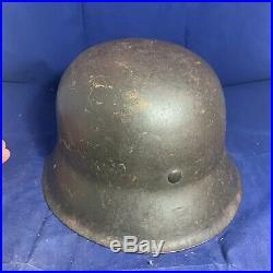 Complete Original WW2 Un-decalled M42 German Combat Helmet Textbook Paint Job