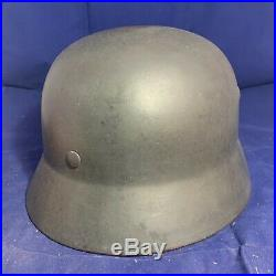 Complete Textbook WW2 Undecalled M35 German Combat Helmet Reissue Named NS66