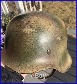 Excellent ORIGINAL WW2 M42 German Normandy camo helmet WWII Army camouflage