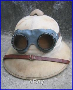 GERMAN WW2 TROPICAL PITH HELMET w Goggles Afrika korps DAK Rommel