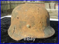 Genuine WW2 German M40 Wehrmacht SD Helmet Semi Relic Battle Damaged With Liner
