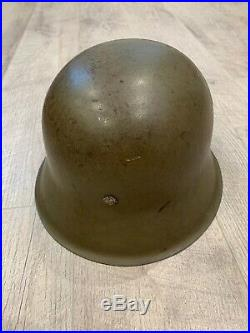 German 100% Authentic WW2 Heer Apple Green Helmet With Liner & Marked Chin Strap