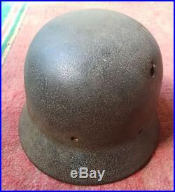 German Helmet M35 Q64 DD with Name Combat Damaged 100% Original WW2