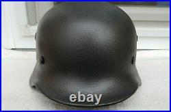 German Helmet M40 Size 66 Ww2 Stahlhelm + Original Ww2 Liner Band