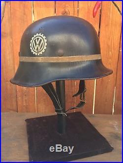 German Volkswagen VW Factory Helmet WWII M34 WW2 Helmet Original VOLKSWAGEN