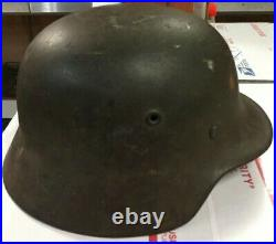 German WW2 Army M40 helmet with liner And Chinstrap Missing Decal