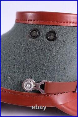 German Ww2 1923-45 Pattern Officer Leather Shacko Helmet Hat Headwear Brown