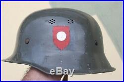 German Ww2 Fire Police Steel Helmet With Wh Insignia
