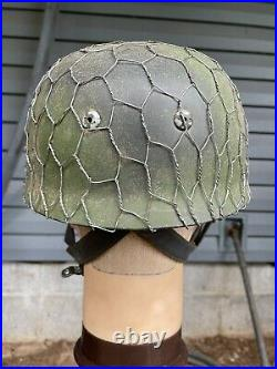 High Quality Camoflauge WW2 German M38 FJ Paratrooper Helmet At The Front Repro