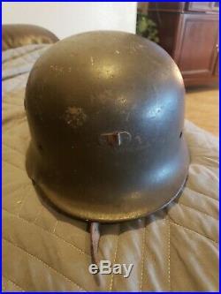 NICE WW2 German M42 Combat Helmet M35 M40 original with Chin Strap and liner