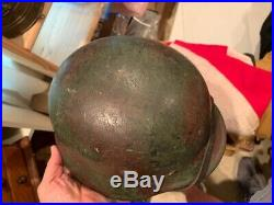 Nice WW2 German Grass Green & Brick Brown Camo Helmet