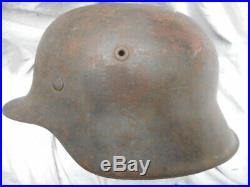 ORIGINAL WW2 GERMAN ARMY m42 STEEL COMBAT HELMET NS68 3091 former SD removed