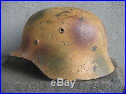 Original Ww2 German M35 Et66 Normandy Or Italian Theater Spray Camo Helmet