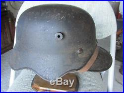 Old Stamped M18 German Cut Out Helmet w Liner Chinstrap WW1 WW2 Badge Medal Pin