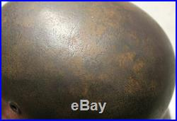 Orig. WW2 GERMAN ARMY WH M40 M 40 HELMET WITH LEATHER INSIDE CAMOUFLAGE OR