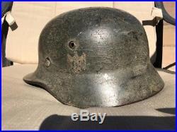 Original Camo German Helmet With Liner Ww2 Single Decal Heer Wehrmacht Wwii