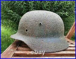 Original German Helmet M35 Relic of Battlefield WW2 World War 2 Size Stamp EF62