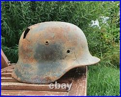 Original German Helmet M40 Relic of Battlefield WW2 World War 2 Stamp 21