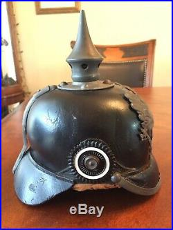 Original German WW1 Prussian Pickelhaube Spiked Helmet WWI Imperial Germany WW2