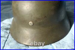 Original German WW2 M35 M40 Helmet ET 62 with Liner camo overpaint named number