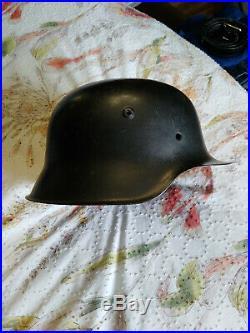 Original German WW2 M42 Helmet stahlhelm Size 64 Black Paint