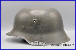 Original German WWII EX Whitewash Camp ND M42 Helmet with Liner WW2