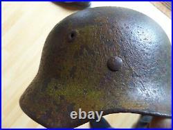 Original German WWII WW2 M42 Normandy Camo Combat Helmet