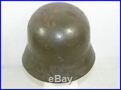 Original Untouched German Helmet M35 Overpaint Aluminum liner Germany WW2 Army