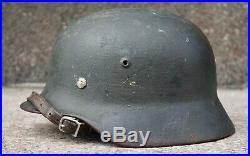 Original Untouched german helmet M35 overpaint alum liner WW2 army