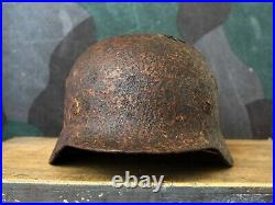 Original WW2 Battl. Relic German Helmet M35 with Liner / winter Camo