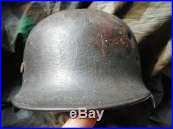 Original WW2 GERMAN ARMY HEER WH M35 M 35 dd QUIST Q66 HELMET battle damage