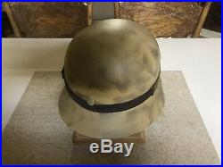 Original WW2 German Helmet M40 Shell Quist 64 With Reproduction Liner / Goggles
