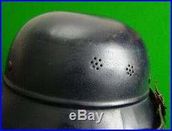 Original WW2 German Luftshultz Helmet with Strap and Liner Stamped Up Inside