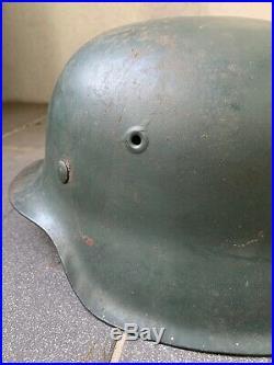 Original WW2 German M42 Helmet & Liner, Norwegian Re-issue