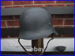 Original WW2 German M42 Helmet with Liner and Chin Strap Found Dunkirk Free Post