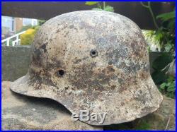 Original WW2 Winter White Camo M42 German Helmet