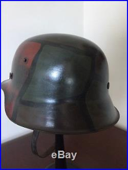 Original WW2 german helmet with ww1 camo pattern, liner, and chinstrap size 56