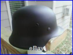 Original WWII WW2 German M42 Helmet Sz 66/59 Restored to New Stahlhelm ET66
