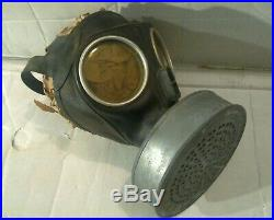 Original Ww2 German Helmet With Liner & Chinstrap & Gas Mask Wwii