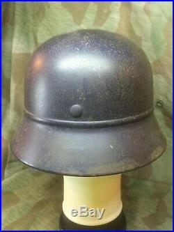 Original Ww2 German Luftschutz Beaded Combat Style Helmet Shows Period Use