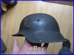 Original Ww2 German M42 Combat Helmet With Liner And Camo Paint