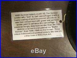 Original Wwii Ww2 German M42 Combat Helmet U. S 75th Division War Trophy Souvenir
